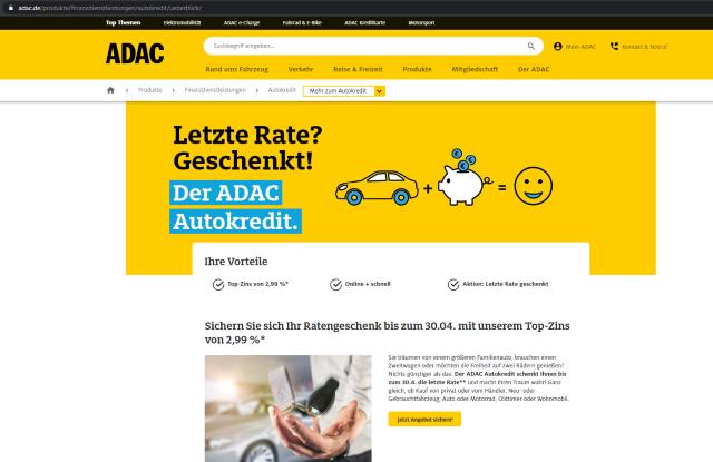 Screenshot ADAC Autokredit Überblick mit URL https://www.adac.de/produkte/finanzdienstleistungen/autokredit/ueberblick/