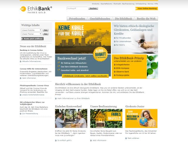 Screenshot der Webseite der EthikBank vom 09.04.2020