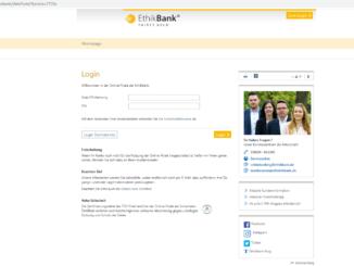 EthikBank Login: Screenshot der Webseite https://www.ethikbanken.de/ptlweb/WebPortal?bankid=2728e