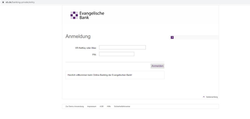 Sicheres Evangelische Bank Login: Screenshot der Webseite https://www.eb.de/banking-private/entry