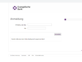 Sicheres Evangelische Bank Login: Screenshot der Webseite https://www.eb.de/banking-private/entry