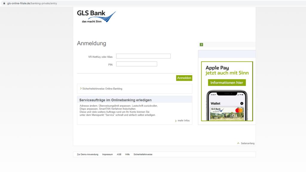 GLS Bank Login: Screenshot der Webseite https://www.gls-online-filiale.de/banking-private/entry