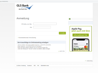 GLS Bank Login: Screenshot der Webseite https://www.gls-online-filiale.de/banking-private/entry