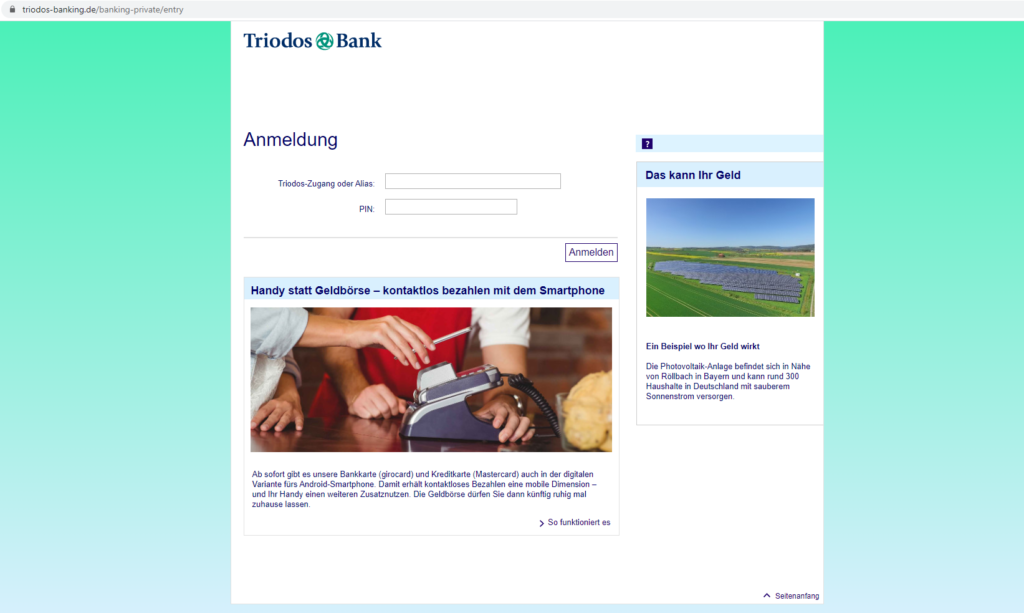 Triodos Login Bereich: Screenshot der Webseite https://www.triodos-banking.de/banking-private/entry