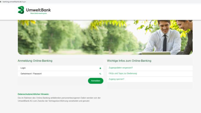 Sicheres UmweltBank Login: Screenshot der Webseite https://banking.umweltbank.de/login