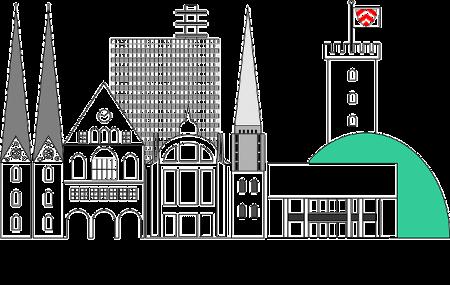 Skyline der Stadt Bielefeld: Wenn du einen Sofortkredit ohne SCHUFA benötigst, kannst du gern in einem Leihhaus Bielefeld vorbeischauen!