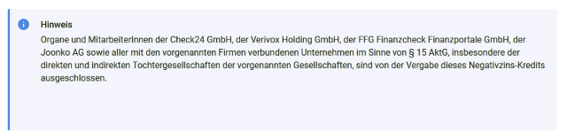 Hinweis smava Kredit mit Minuszinsen auf https://www.smava.de/kredit/aktionskredit/