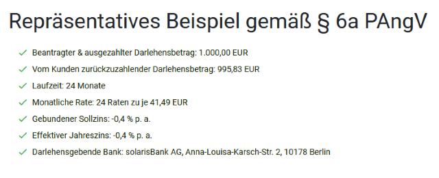 Repräsentatives Beispiel auf https://www.smava.de/kredit/aktionskredit/ zum smava Negativzins-Kredit