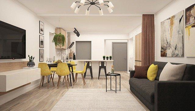 Schöne Küche und modernes Wohnzimmer: Verschönern Sie Ihr Zuhause, indem Sie den günstigen PSD Bank Modernisierungskredit aufnehmen und Modernisierungsmaßnahmen durchführen!